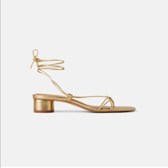 Zara heeled leather sandals with straps
